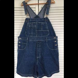 Plus size vintage 1990's jean short overalls